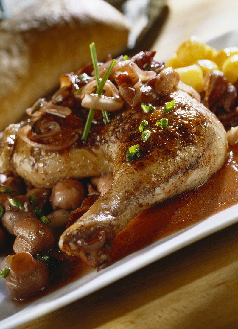 Coq au vin (chicken in red wine sauce)