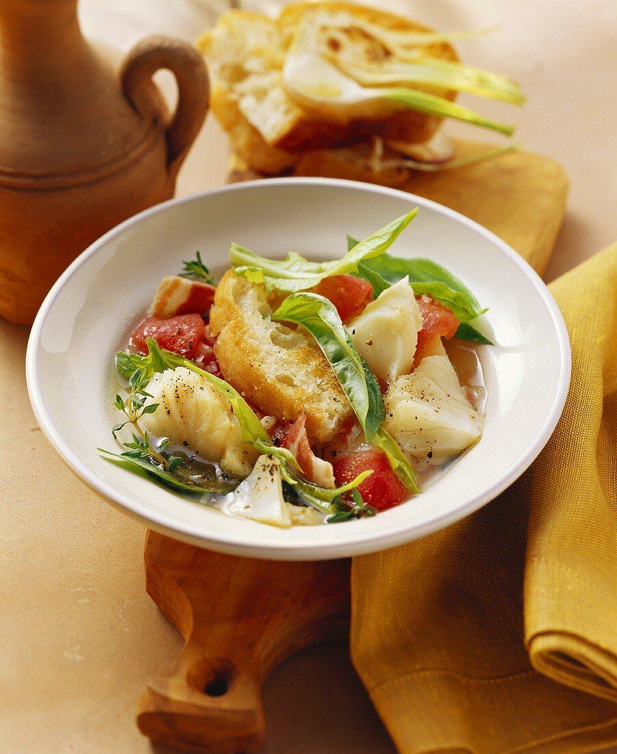 Aquacotta della Maremma (Fish soup with bread, Italy)