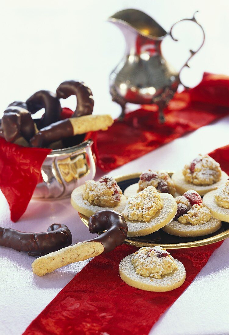 Crispy sticks with chocolate icing and cranberry biscuits