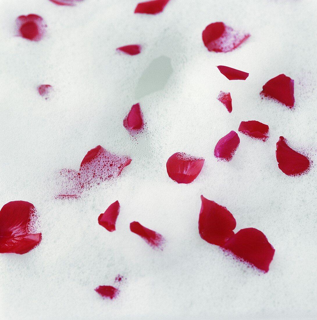 Bubble bath with rose petals