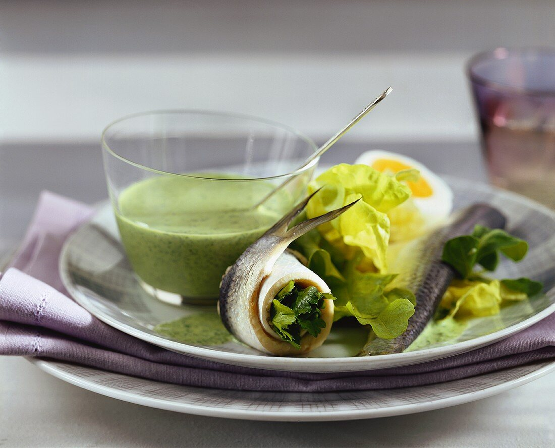 Herring with green sauce