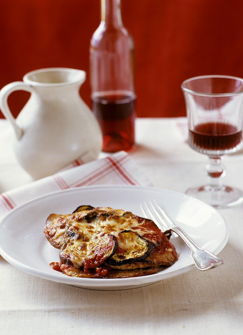 Scaloppine alla parmigiana (Veal escalope with cheese topping)