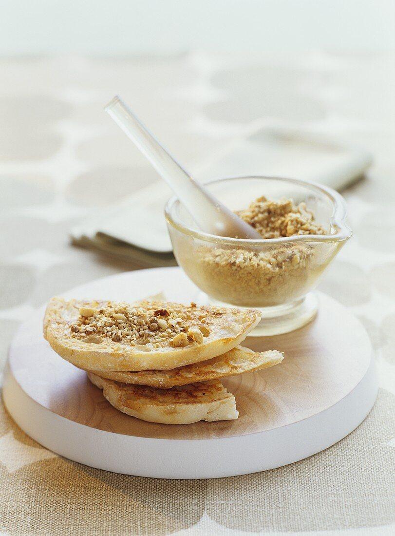 White bread with Duka (spicy nut mixture, Australia)