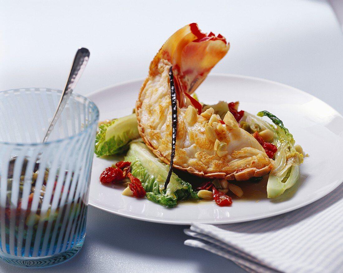 Langouste with almond vinaigrette and vanilla pod