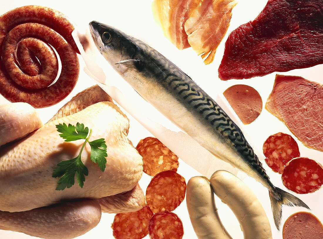 Picture symbolising Atkins Diet (meat, sausage, poultry, fish)