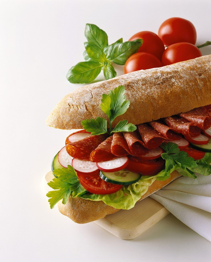 Ciabatta sandwich with salami