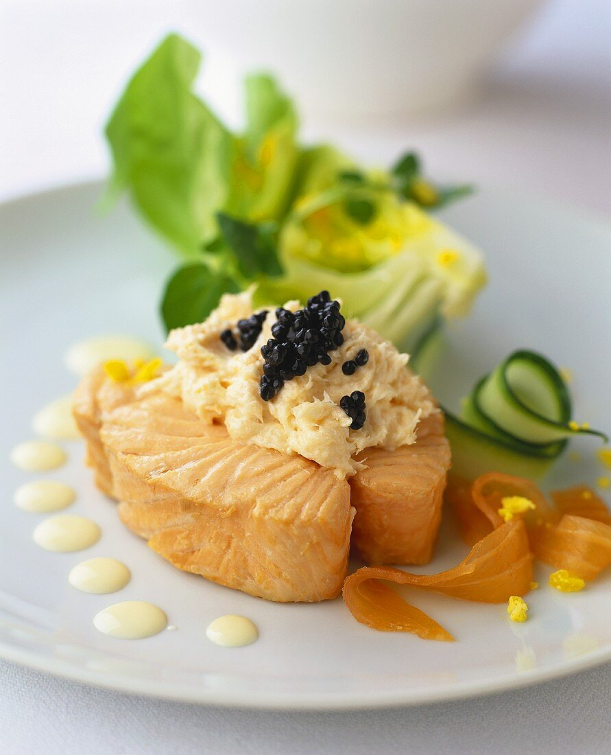 Poached salmon with caviare