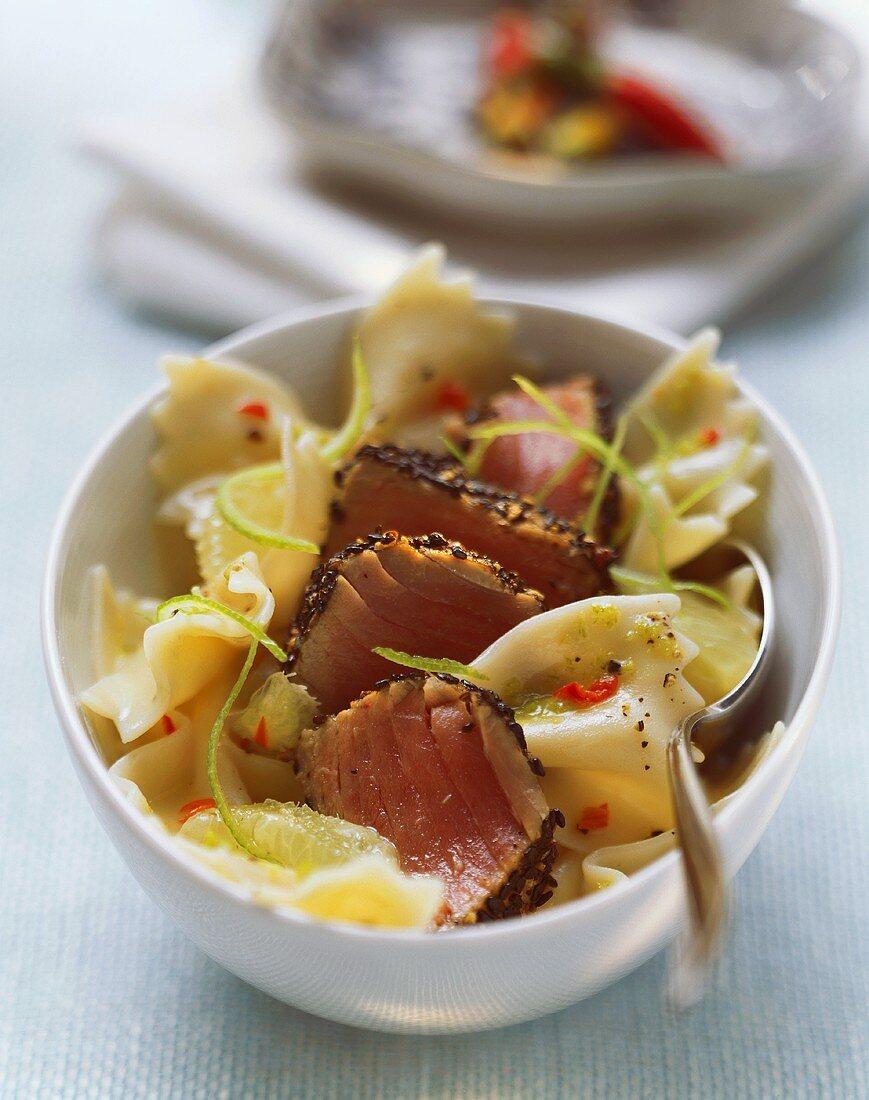 Farfalle with tuna and lime peel