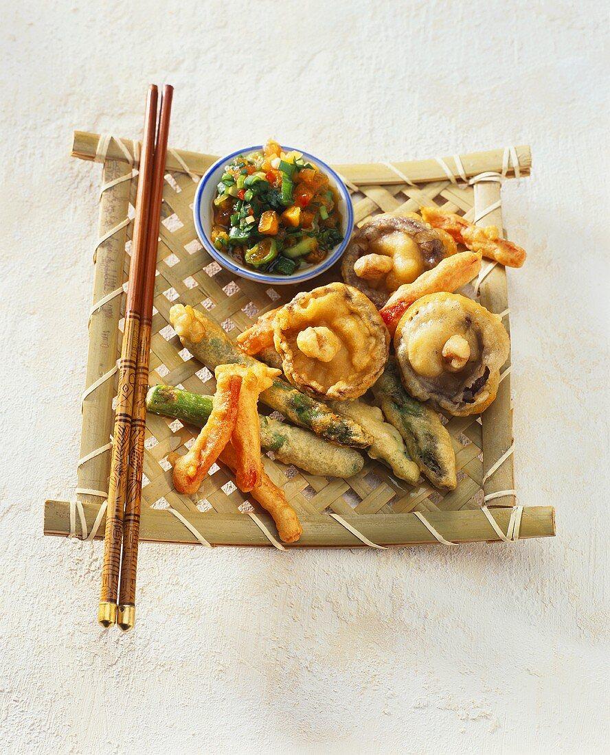 Vegetable tempura on bamboo mat (Japan)