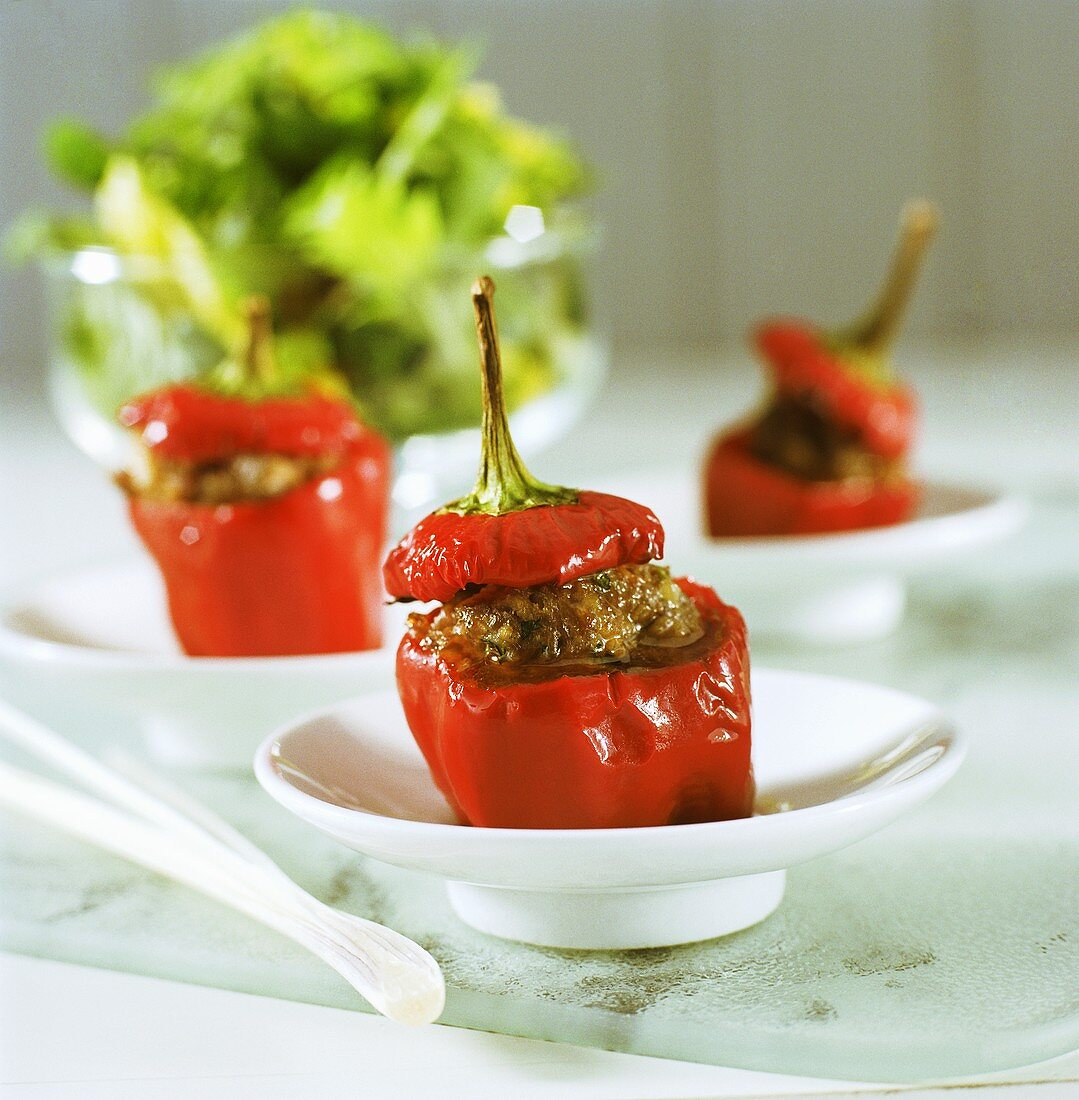 Green peppers with mince stuffing