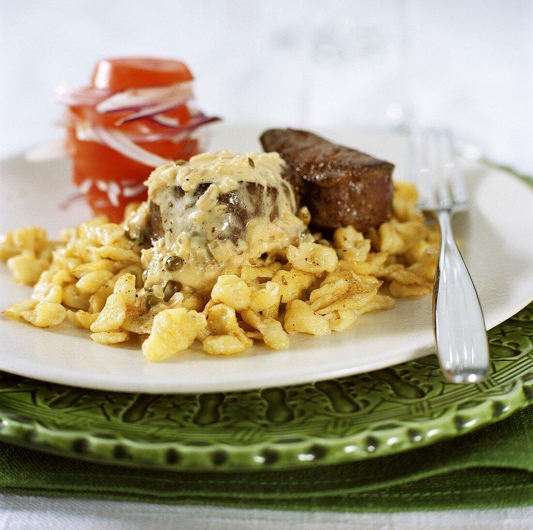 Fillet steak with home-made noodles (Spaetzle)