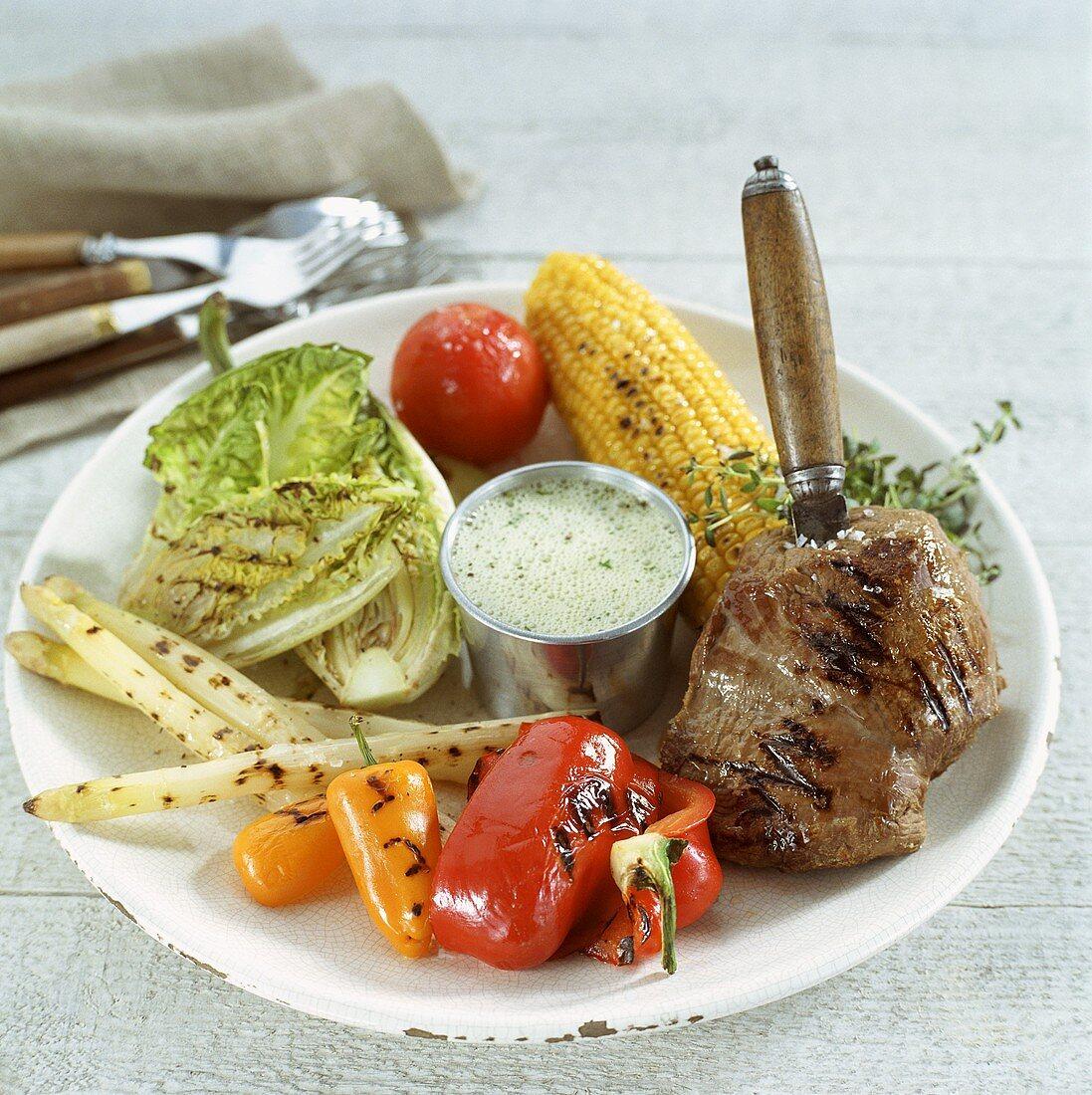 Grilled elk steak with vegetables