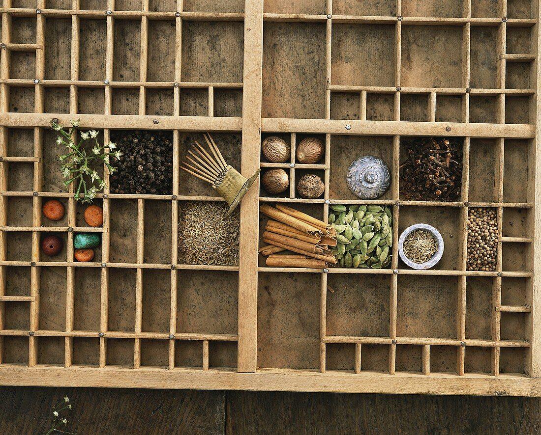 Garam masala spices for Ayurvedic cooking in typesetter's case