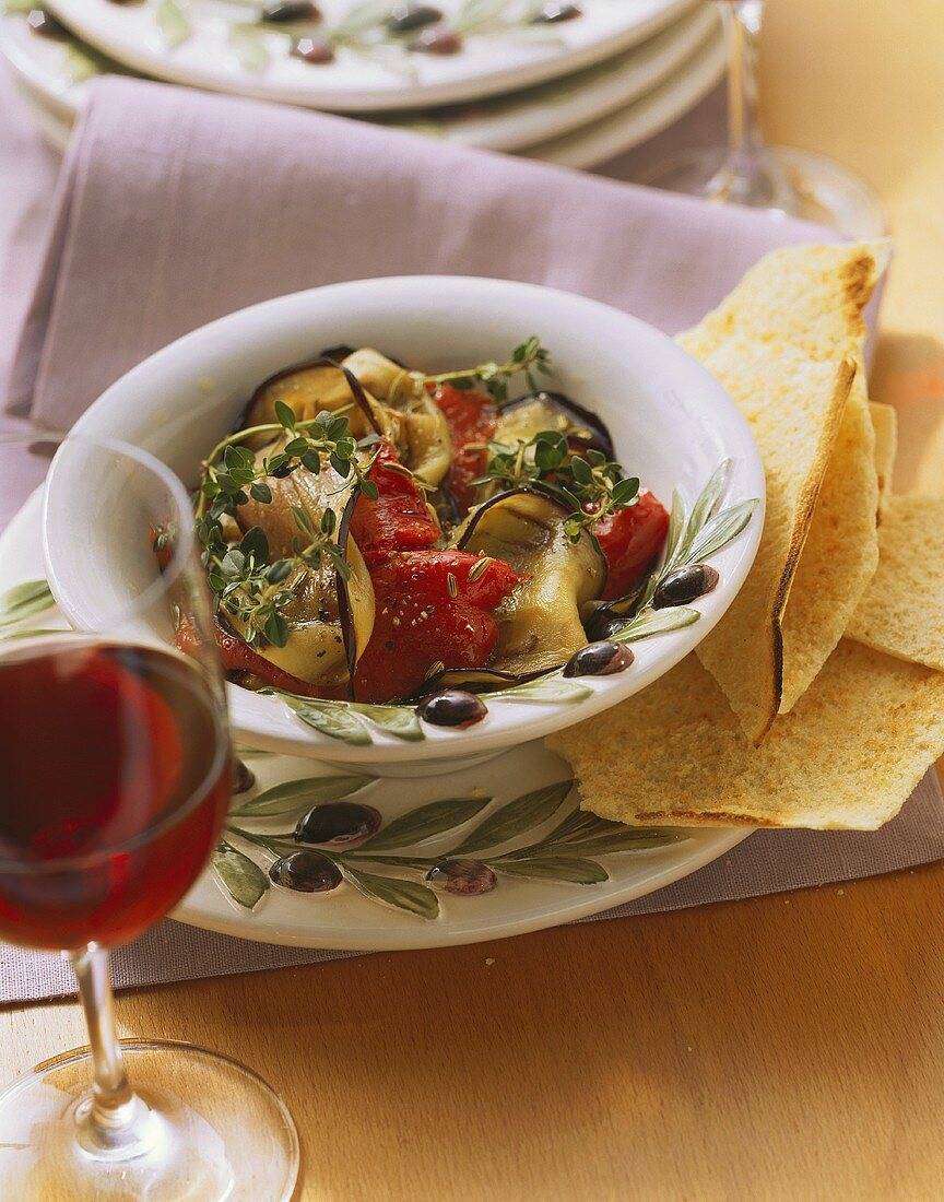 Aubergines and peppers with thyme