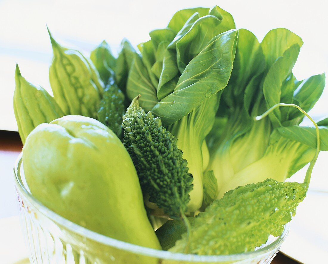 Chinese vegetables: chayote, pak choi, bitter gourd