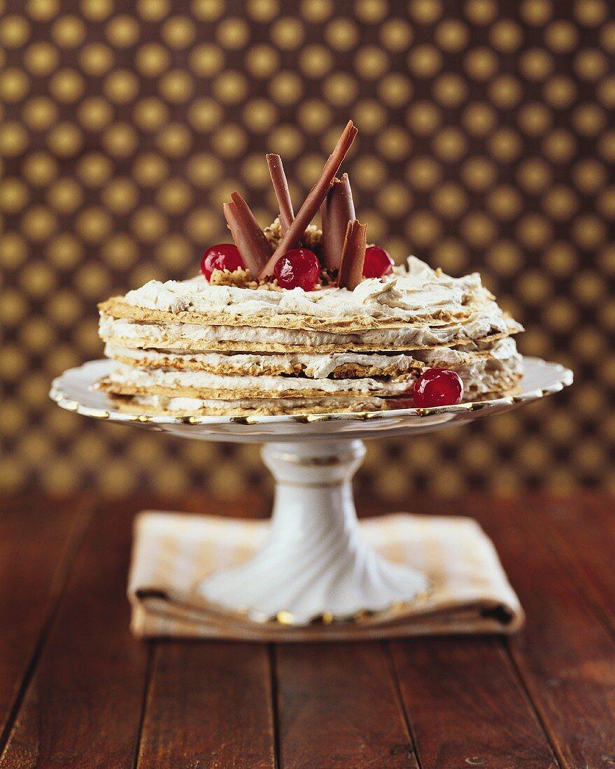 Layered cake with chestnut cream