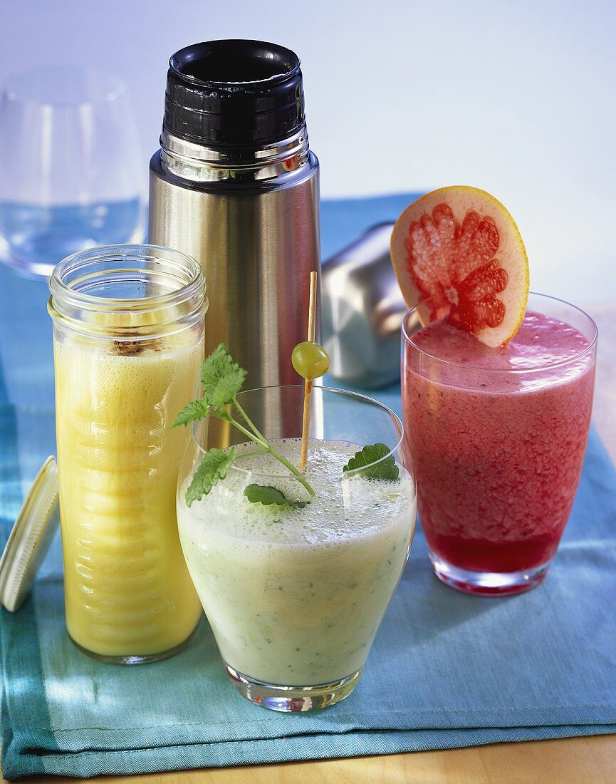 Mango lassi, grape & lemon balm drink, grapefruit & berry drink