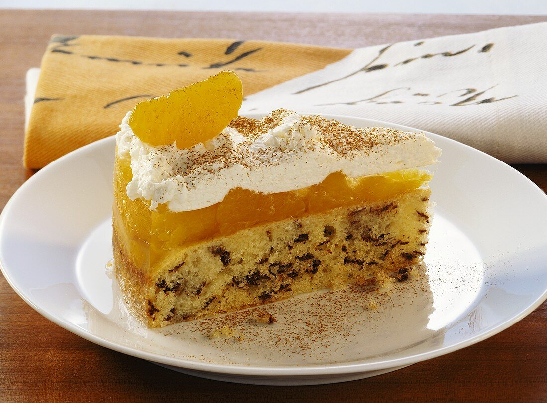 A piece of mandarin orange cake