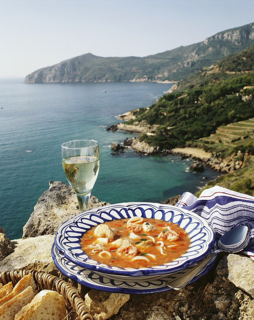 Zuppa di pesce (fish soup), Tuscany, Italy