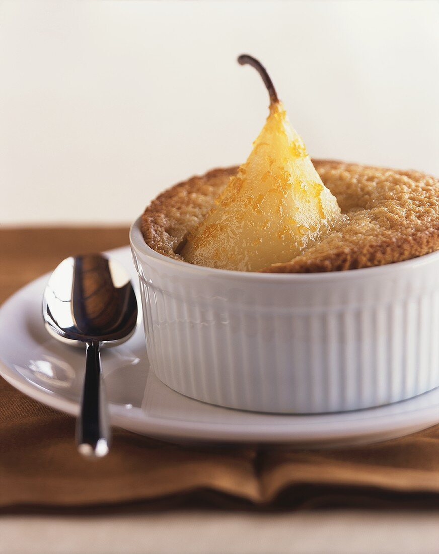 Pear and almond soufflé