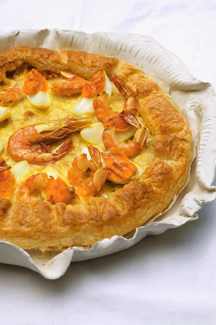 Cod quiche with shrimps