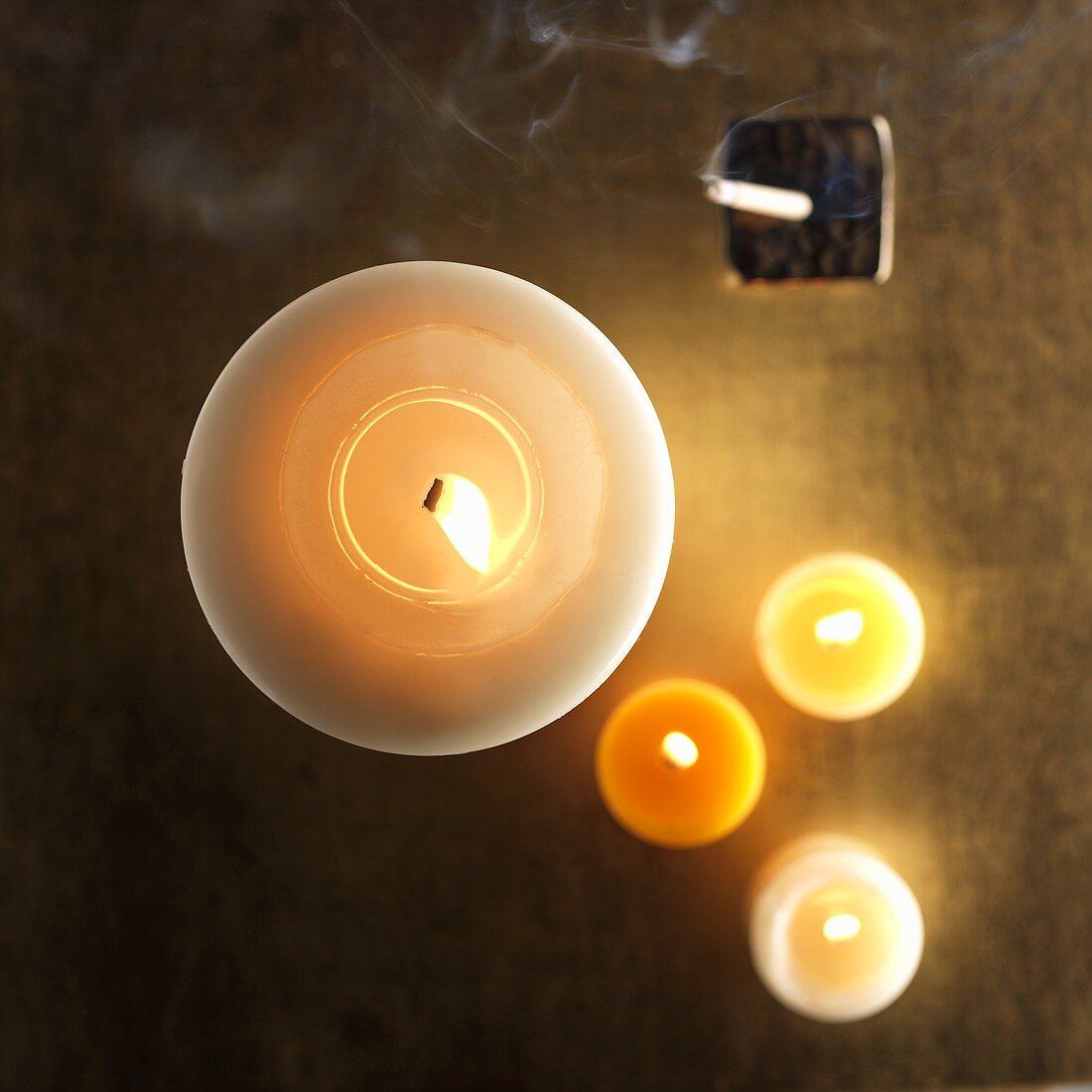 Burning candles and joss stick