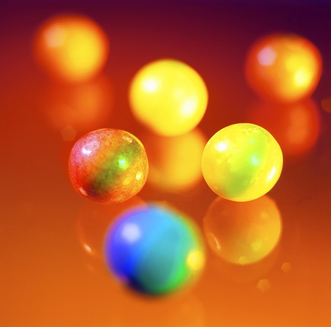 Coloured chewing gum balls