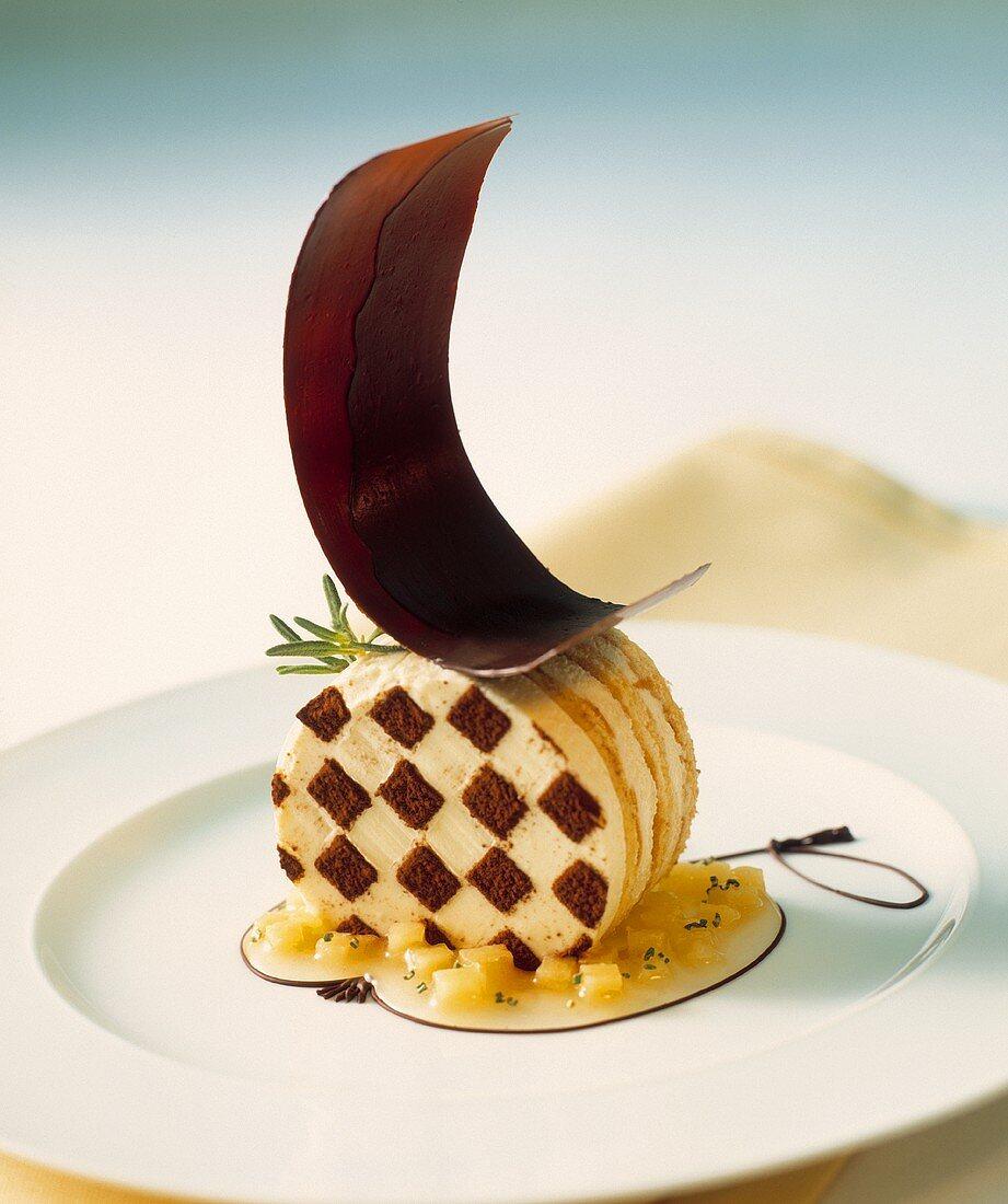 Chocolate sponge cake with apple sauce