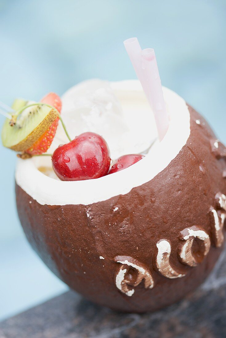 Coconut drink with cherries