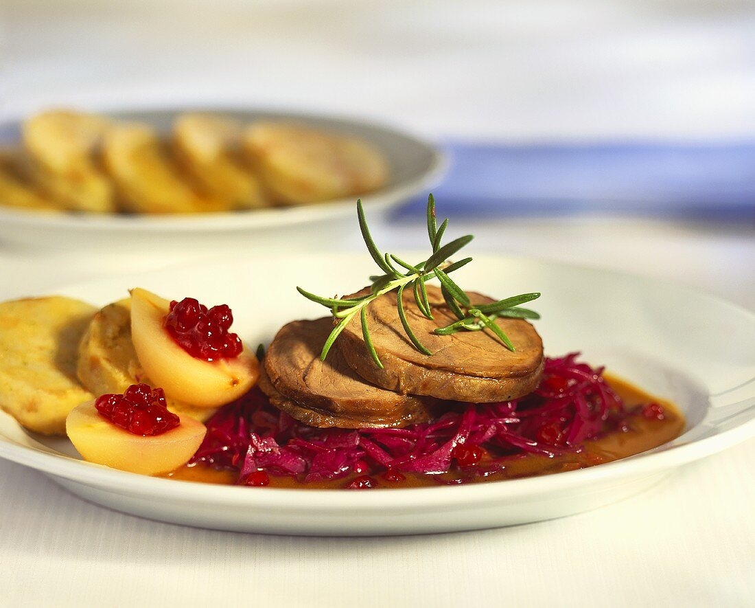 Roast venison with napkin dumpling