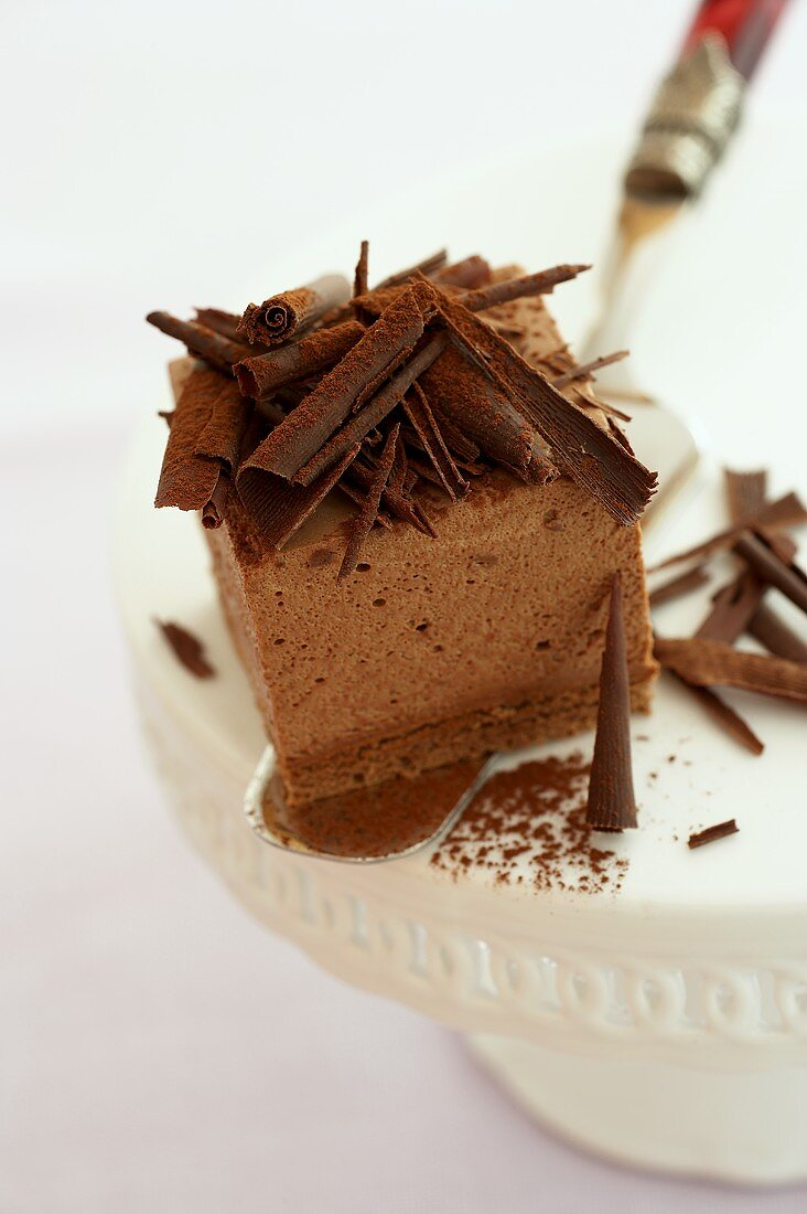 A piece of chocolate mousse cake