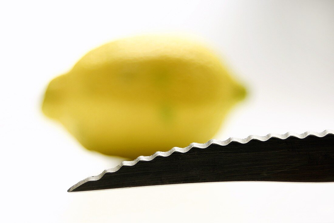 A knife point with a lemon in the background