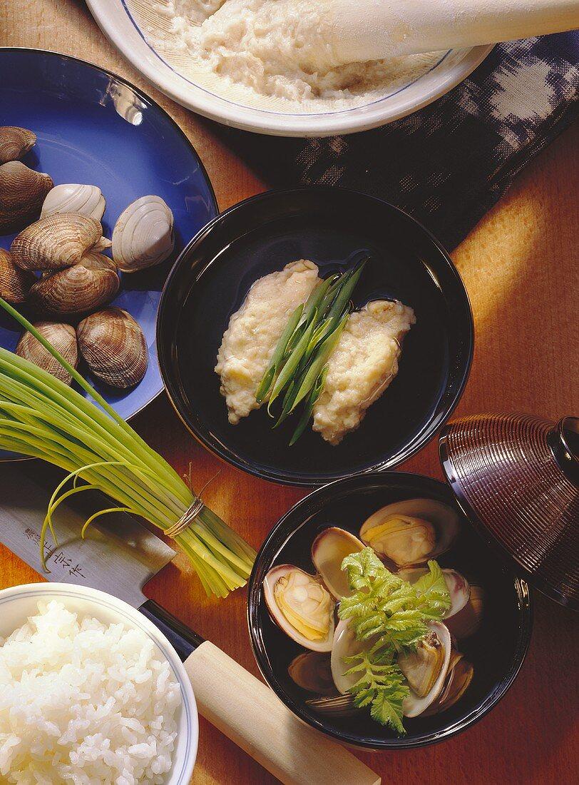 Clam Soup & Soup with Fish Dumplings