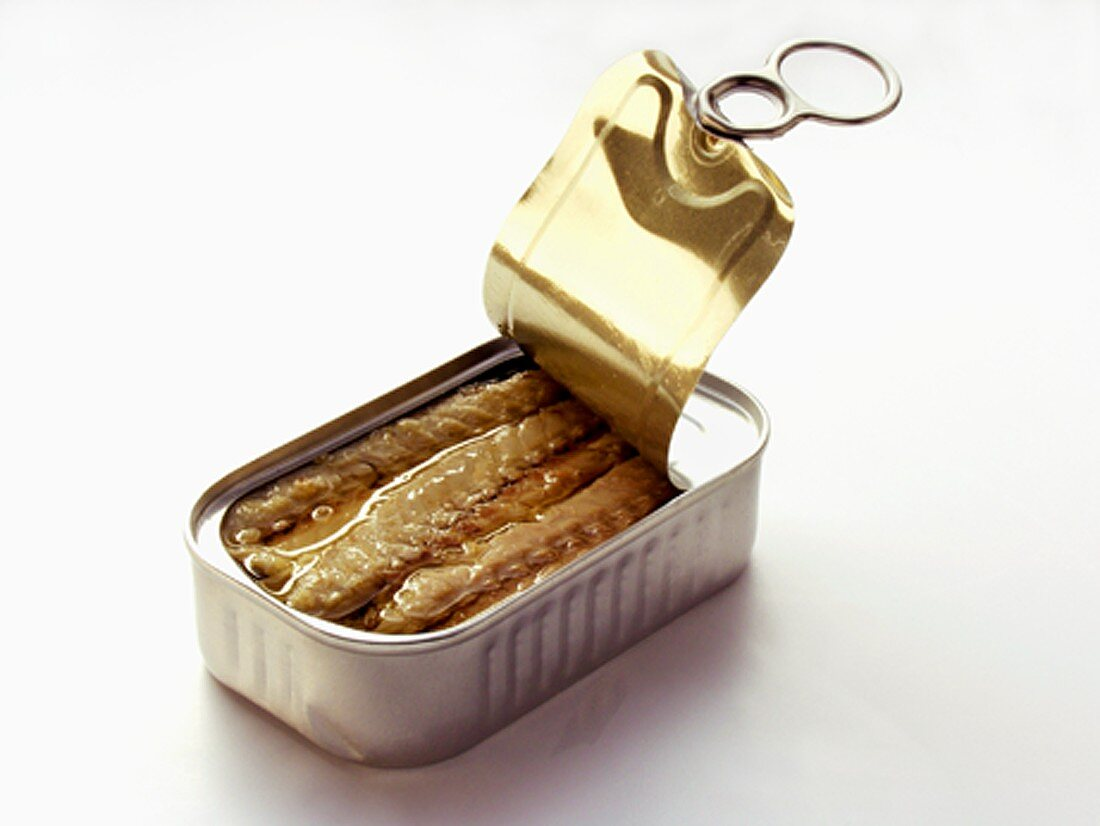 A Partially Opened Can of Sardines
