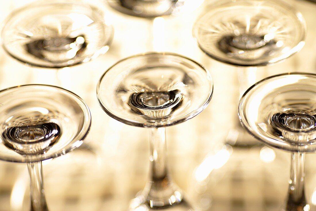 Upturned wine glasses
