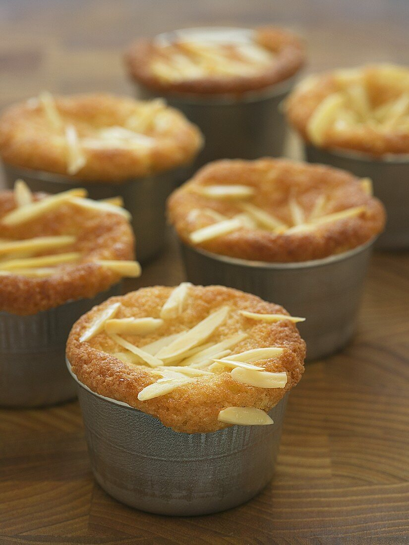 Almond muffins in the baking tins