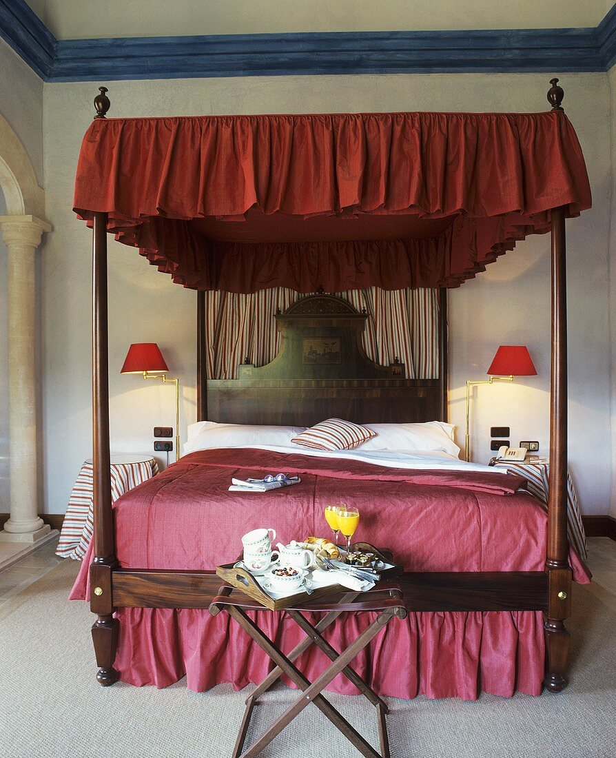 Breakfast tray by four poster bed