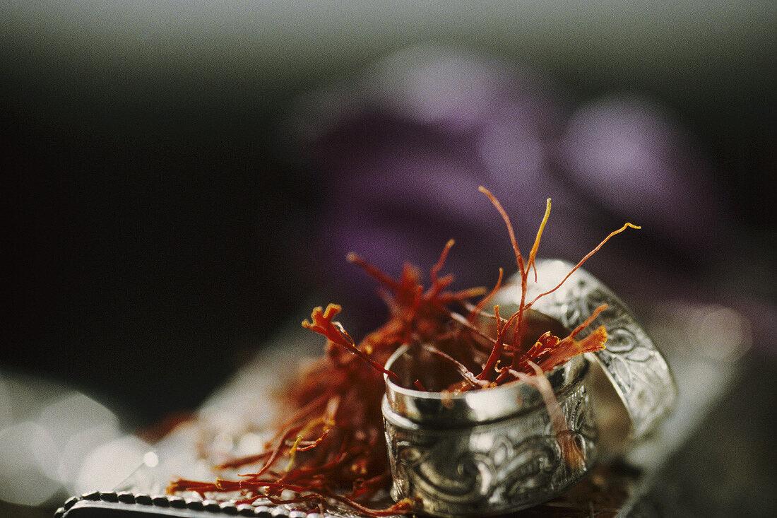 Saffron in a small silver box