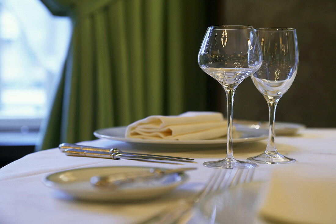 A place-setting in a restaurant