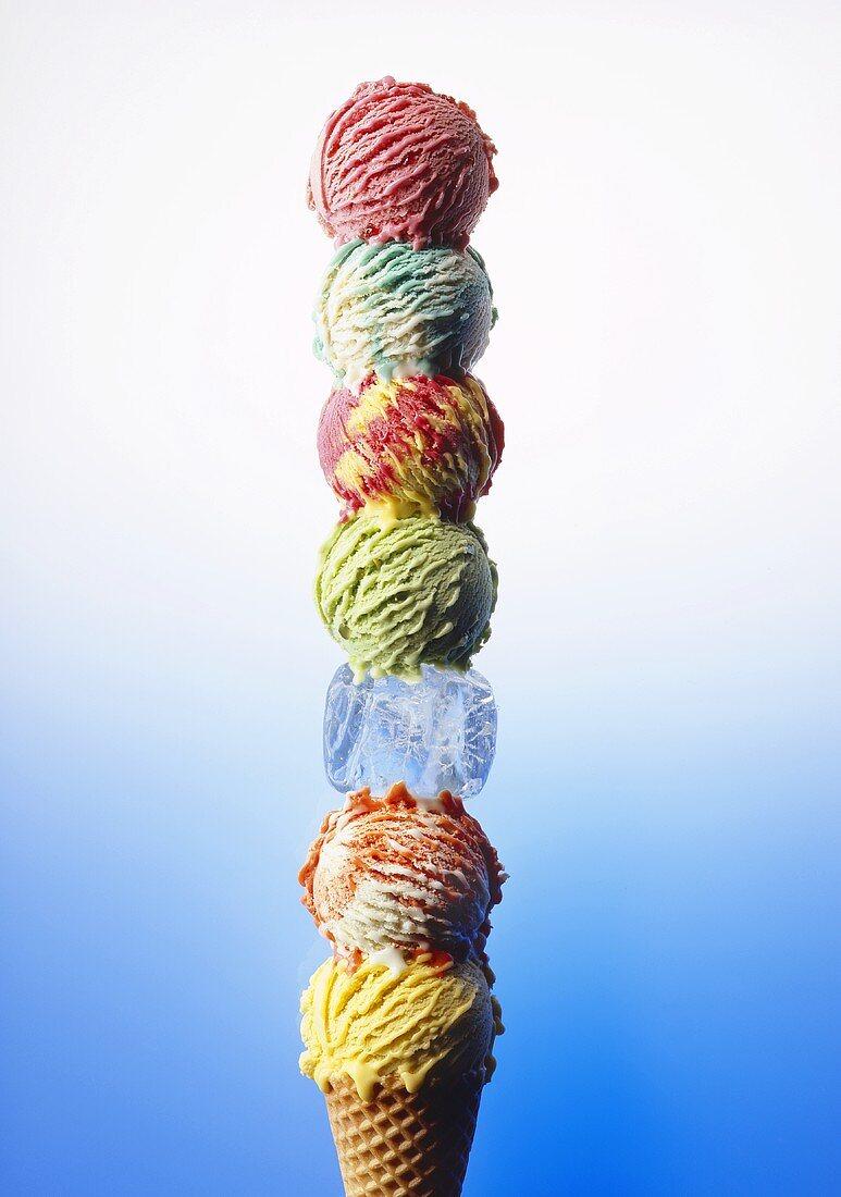 Scoops of ice cream stacked on one ice cream cone