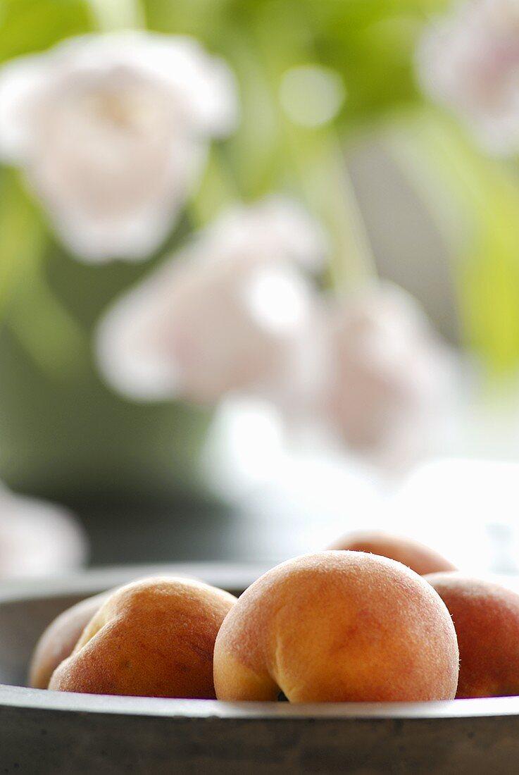 Peaches in a dish