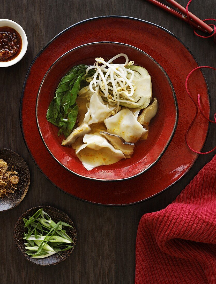 Wonton soup with vegetables and sprouts