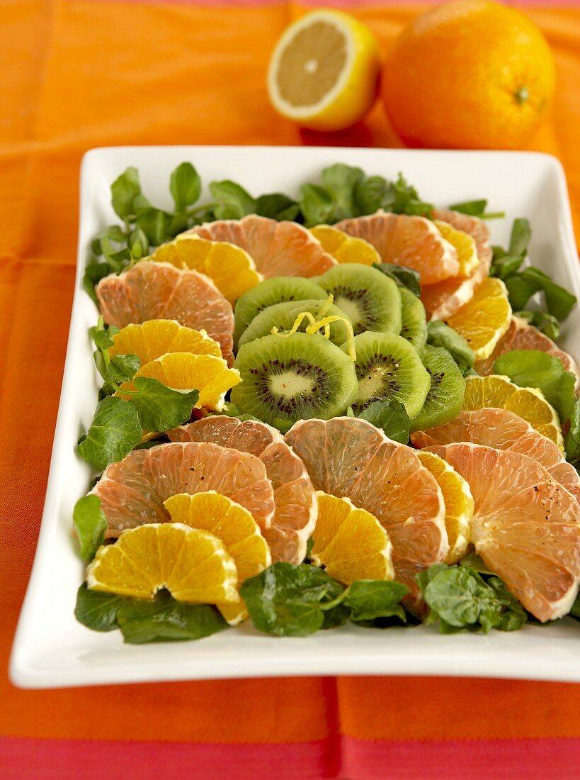 Citrus fruit, kiwi fruit and watercress salad