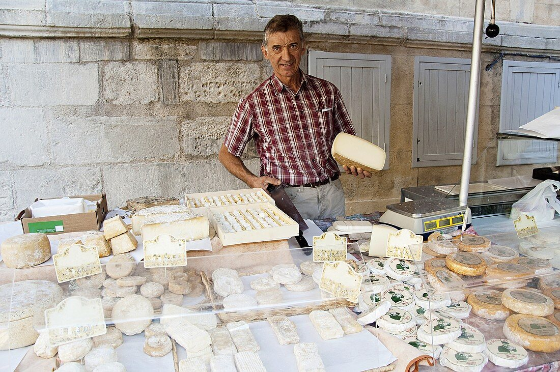 A man at sheeps' cheese market stall in France