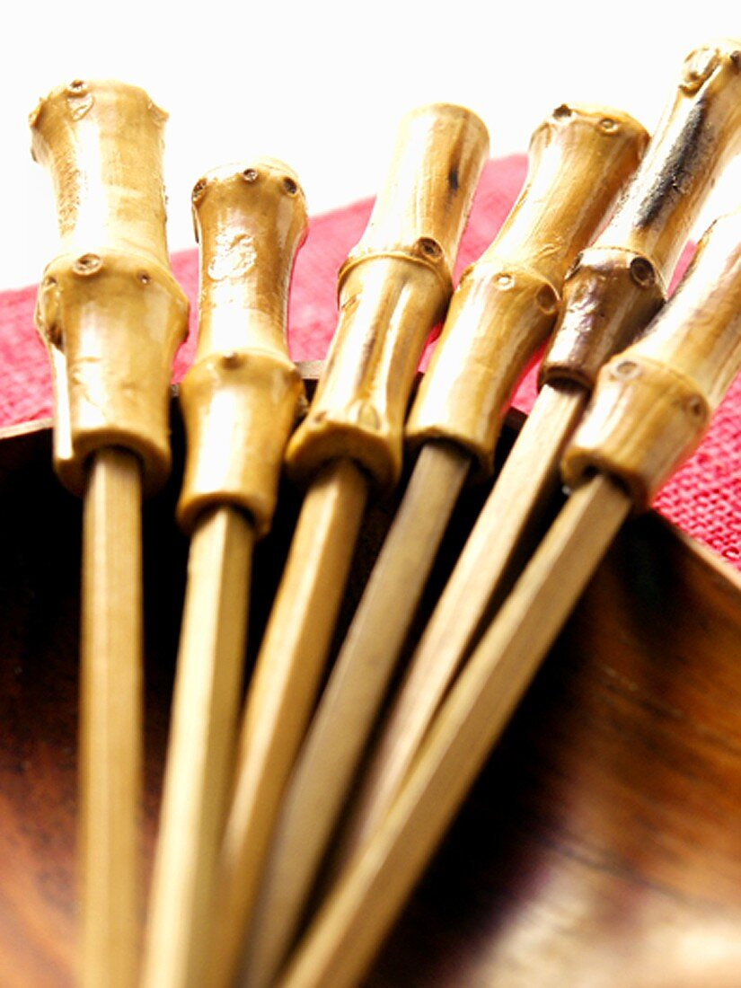 Party sticks in wooden bowl