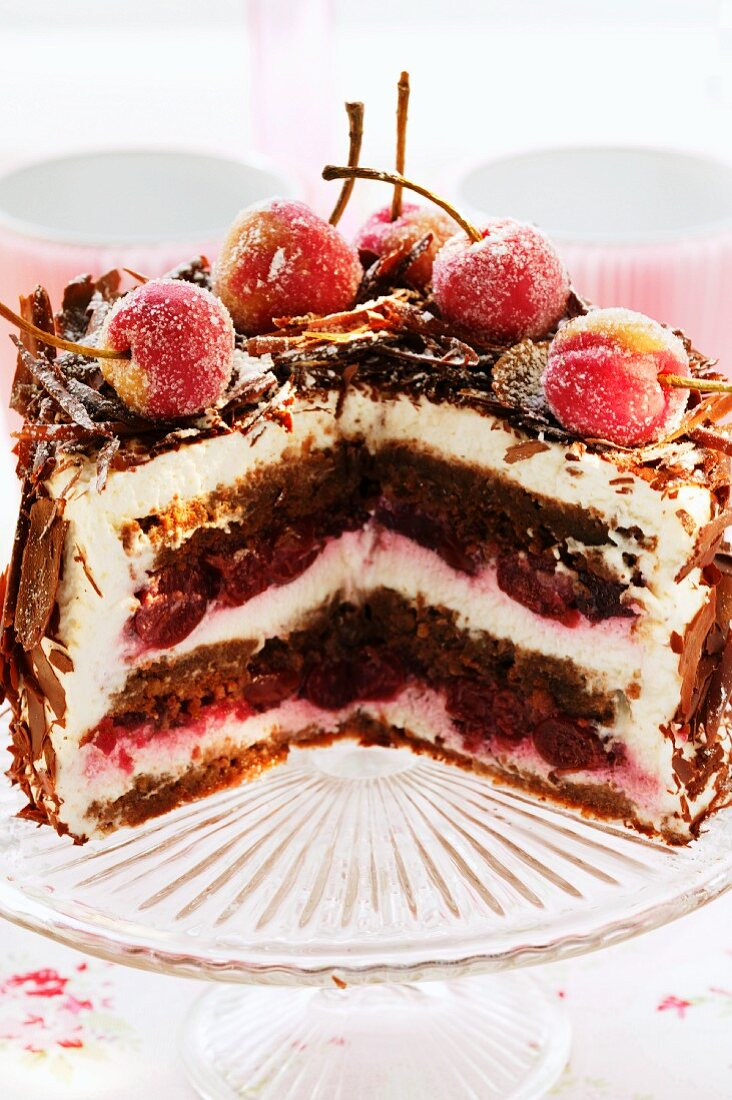 Black Forest cherry gateau on cake plate, pieces cut
