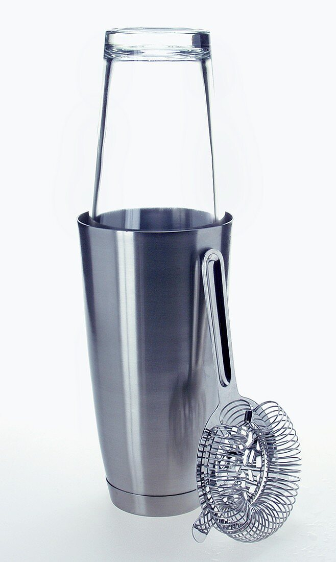 Cocktail shaker with glass and bar strainer