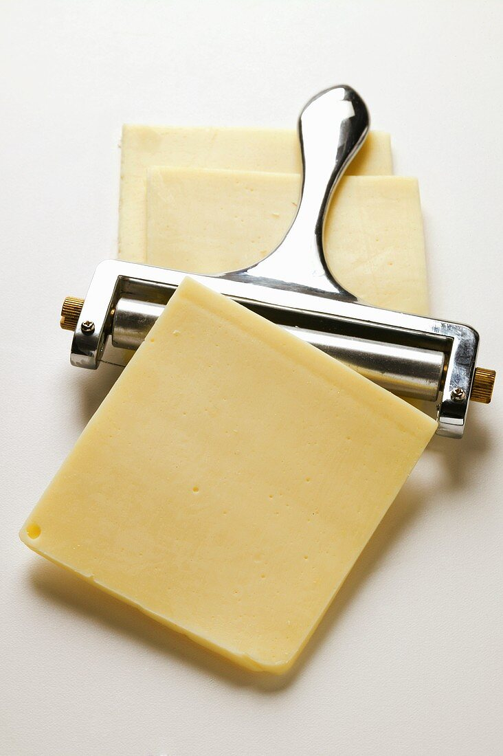 American cheese: slices with cheese plane