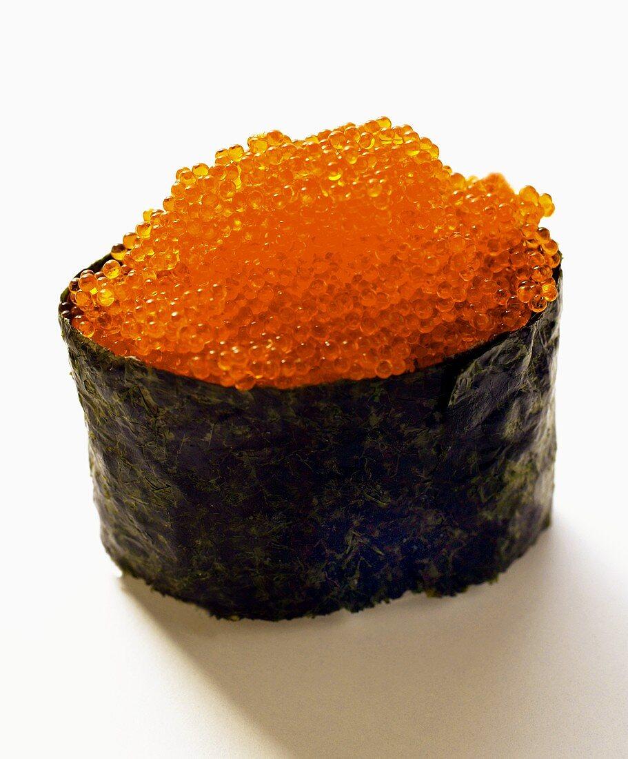Gunkan-sushi with tobiko (flying fish caviare)