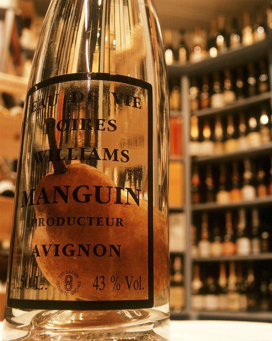 A bottle of Williamsbirne schnapps